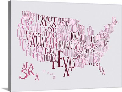 Bubble Gum US Typography Map