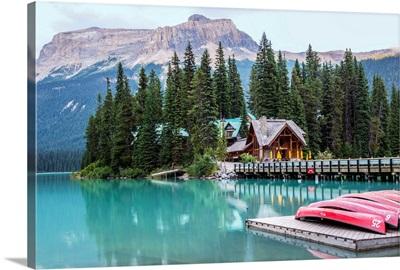 Canoes At Emerald Lake, Yoho National Park, British Columbia, Canada