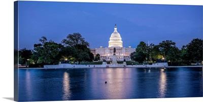 Capitol Reflecting Pool At Night, US Capitol Building, Washington DC