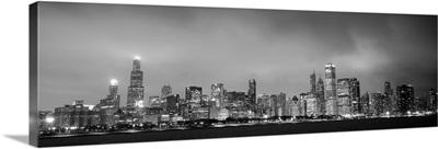 Chicago City Skyline at Dusk, Black and White