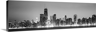 Chicago City Skyline in the Evening, Black and White