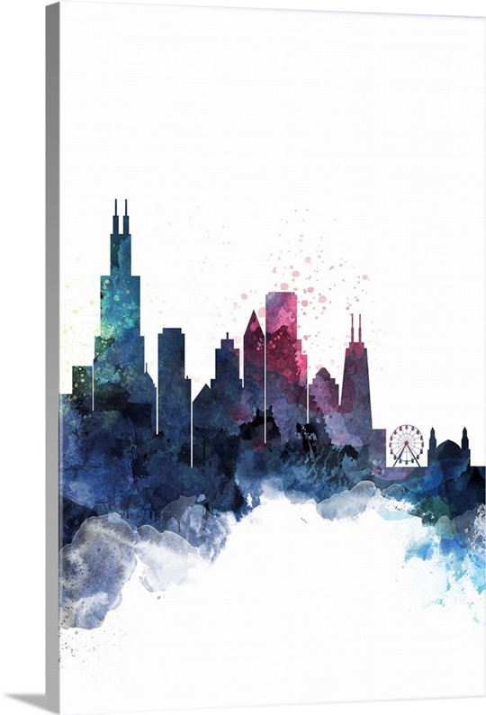 Cityscape Wall Art chicago watercolor cityscape wall art, canvas prints, framed