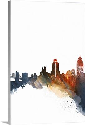 Cincinnati Watercolor Cityscape