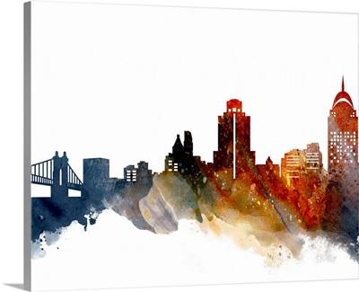 Cincinnati Watercolor Cityscape II