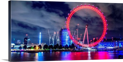 Coco-Cola London Eye At Night In London, England