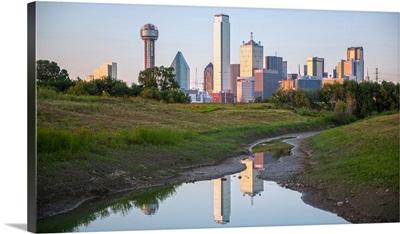Dallas Skyline Near Stream, Texas