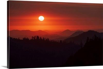 Darkened Red Sky In Sequoia National Park, California