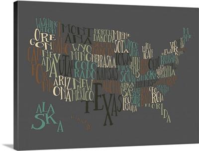 Deep Earth US Typography Map
