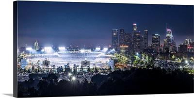Dodger Stadium and LA skyline Lit Up at Night