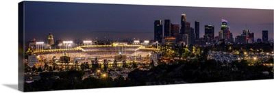 Dodger Stadium and LA skyline Lit Up at Night - Panoramic