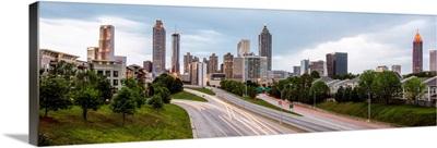 Dusk falls over the Atlanta, Georgia skyline