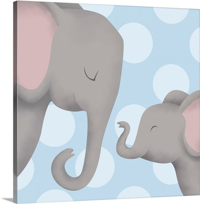 Elephant Mommy and Baby on Blue