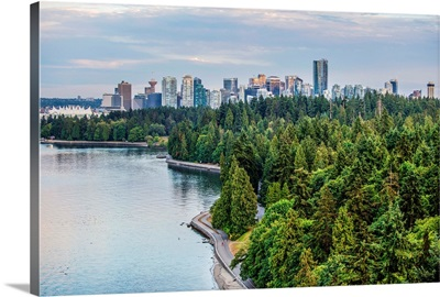 Elevated View Of Downtown Vancouver And Stanley Park, British Columbia, Canada