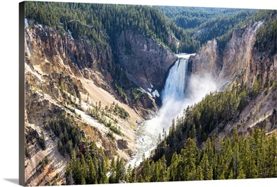 Elevated View Of Lower Falls Of Yellowstone, Yellowstone National Park
