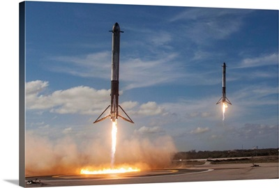 Falcon Heavy's Side Cores Land On Landing Zones 1 And 2