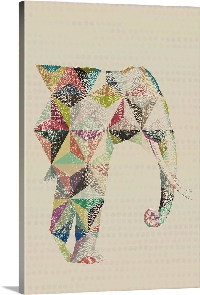 Geometric Shape Animals Elephant Wall Art