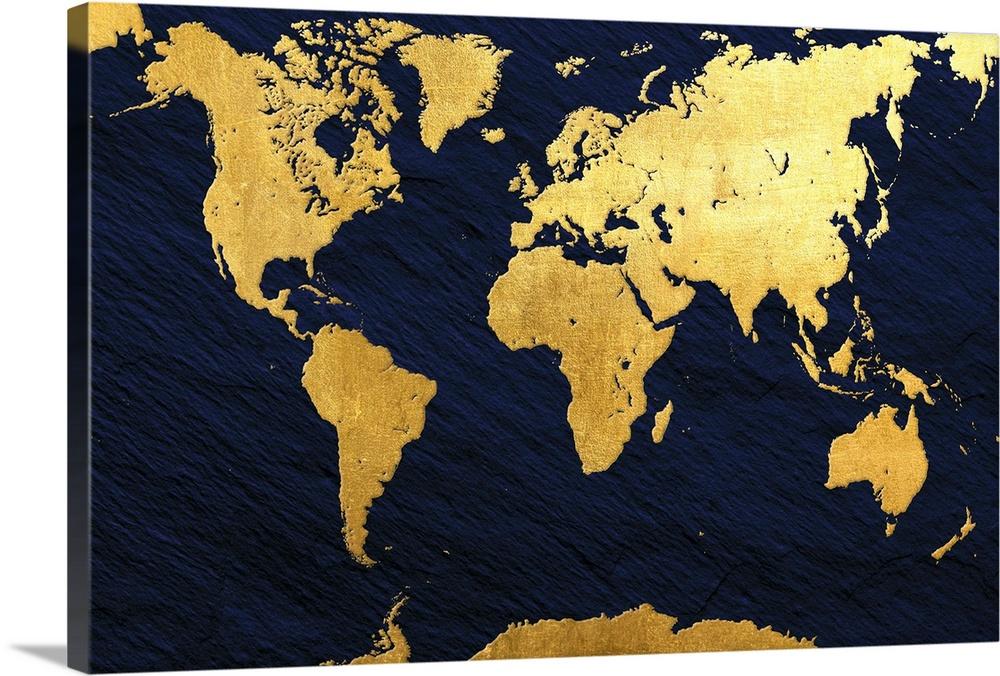 Gold Foil World Map Wall Art Canvas Prints Framed Prints Wall Peels Great Big Canvas