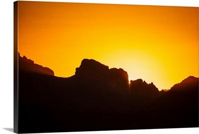 Golden Sunset Over Silhouetted Rocks In Phoenix, Arizona