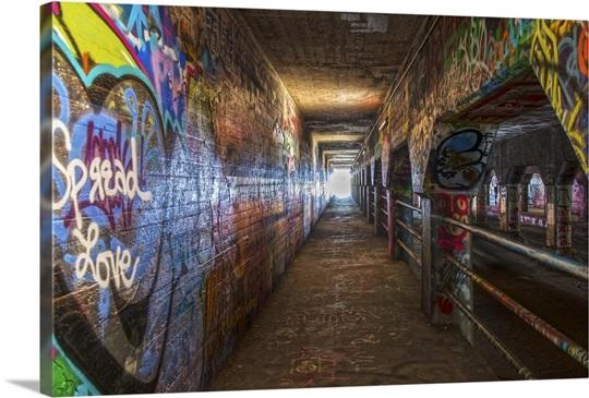 Graffiti-filled walls of the Krog Street Tunnel in Atlanta, Georgia ...