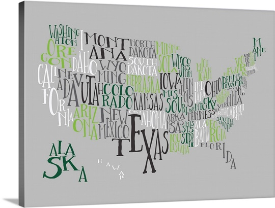 Green Grays US Typography Map Great Big Canvas - Big map of us poster