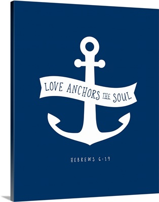 Hebrews 6:19 - Scripture Art in White and Navy