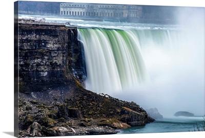 Horseshoe Falls At Niagara Falls With Former Toronto Power Generating Station, New York