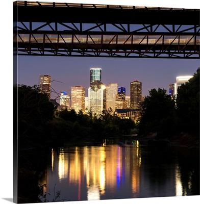 Houston Skyline Reflecting into Buffalo Bayou