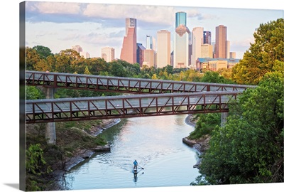 Houston TX Skyline Above Buffalo Bayou