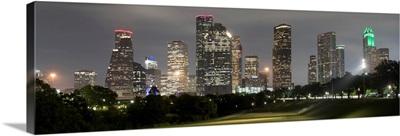 Houston TX Skyline at Night Panorama