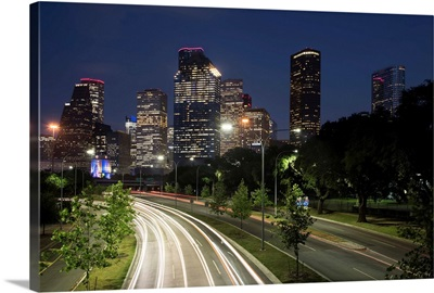 Houston TX Skyline at Night with Light Trails