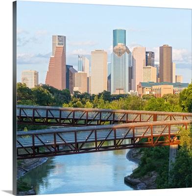 Houston TX Skyline - Rosemont Pedestrian Bridge - Buffalo Bayou