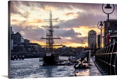 Jeanie Johnston Tall Ship and Sunset, Dublin, Ireland