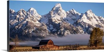 John Moulton Barn With High Peaks Of Teton Range, Grand Teton National Park, Wyoming