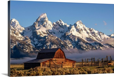 John Moulton Barn With Teton Range, In Grand Teton National Park, Wyoming