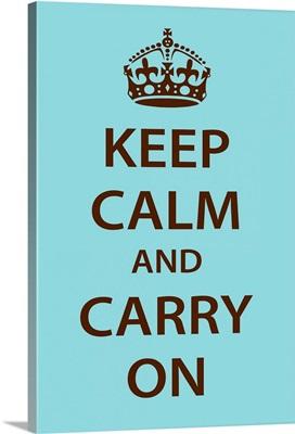 Keep Calm Wall Art [Dark Brown on Light Blue]