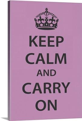 Keep Calm Wall Art [Dark Gray on Light Purple]