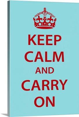 Keep Calm Wall Art [Red on Light Blue]