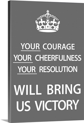 Keep Calm Wall Art - Victory [White on Gray]