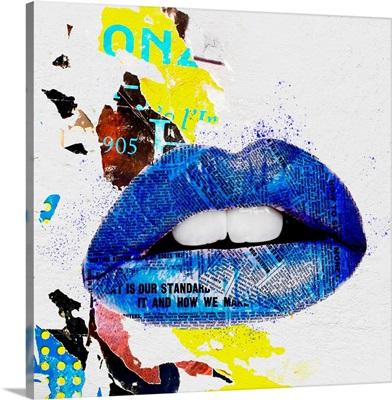 Lips - Blue Grunge I
