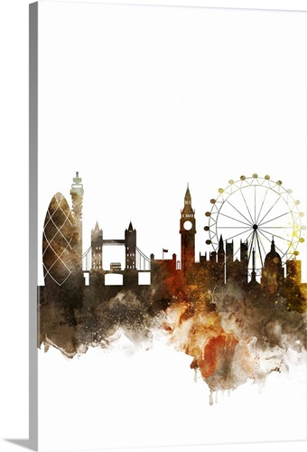 london watercolor cityscape wall art canvas prints framed prints