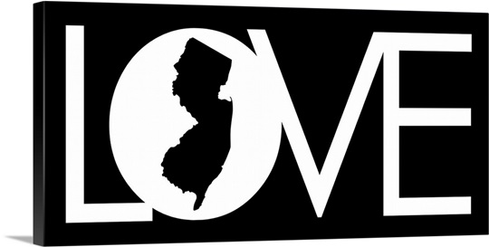LOVE State Wall Art - New Jersey - [white on black] Wall Art, Canvas ...