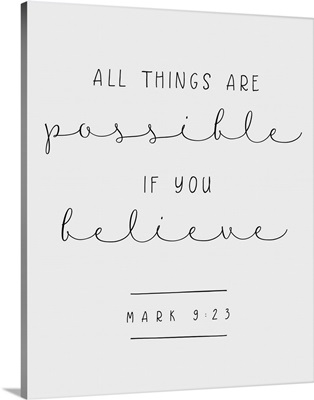 Mark 9:23 - Scripture Art in Black and White
