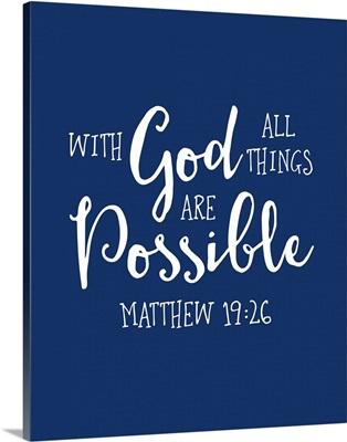 Matthew 19:26 - Scripture Art in White and Navy