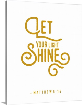 Matthew 5:14 - Scripture Art in Gold and White