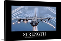Military Motivational Poster:  An AC-130H Gunship aircraft jettisons flares