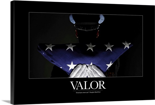 Military Motivational Poster Valor Wall Art Canvas