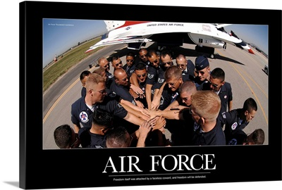 Military Poster: Air Force Thunderbird maintainers bring it in for a cheer