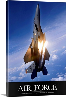 Military Poster: An F-15E Strike Eagle pops flares