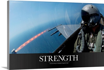 Military Poster: An F-16 Fighting Falcon fires an AIM-9 missile