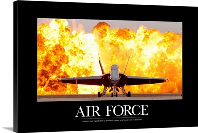 Military Poster: An F/A-18 Hornet sits on the flight line with a wall of fire behind it